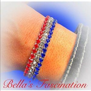 Jewelry - Patriotic Bracelet 3 Pc Set Stretch Crystal Silver